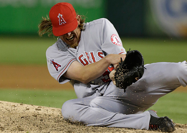 Jered Weaver left his start on Sunday after getting hit in the arm by a line drive.