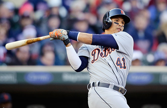 Victor Martinez missed Tuesday's game vs. the Blue Jays after cutting his thumb on the bat rack.