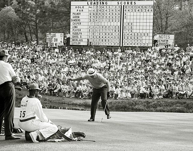 The record nine-stroke win by Jack Nicklaus in 1965 stood until 1997. That's when .... (<italics>next frame</italics>)