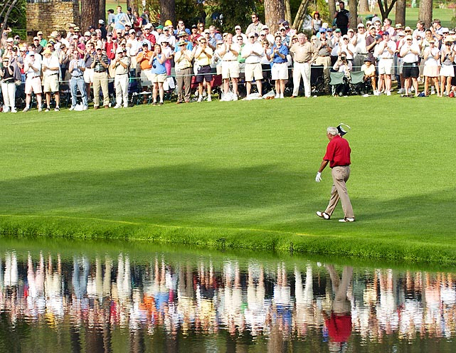 Arnold Palmer, a four-time champion, played his final round at the Masters on April 9, 2004. He competed in the tournament 50 times.