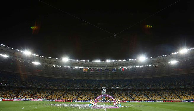 Kiev's Olympic Stadium hosted the Euro 2012 final between Spain and Italy.