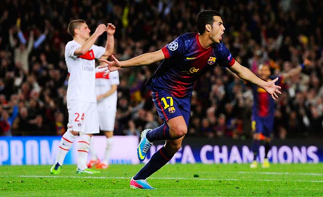 Pedro celebrates his 71st-minute goal for Barcelona, which learns its semifinal opponent Friday.