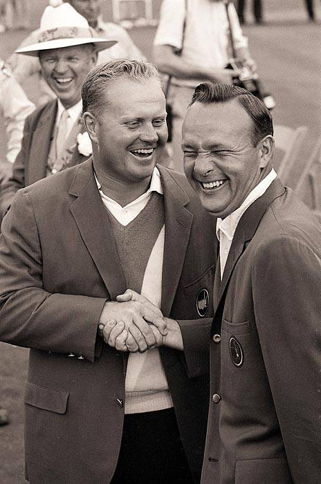 Jack Nicklaus and Arnold Palmer exchanged green jackets for the fourth straight year in '65.