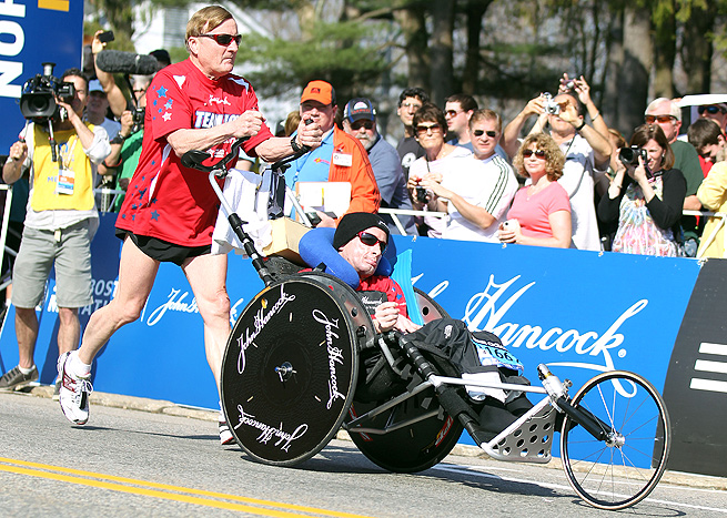 Dick Hoyt and his son Rick will run the Boston Marathon for the 31st time this year.