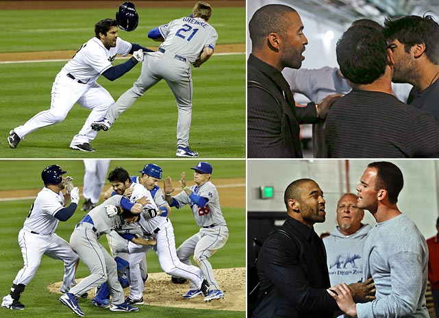 This exhibit of vigilante justice was on display in San Diego, when a fastball from the Dodgers' Zack Greinke veered inside and hit the Padres' Carlos Quentin on the left arm. A moment later, Quentin charged the mound, and soon both benches emptied in a brawl. Greinke suffered a broken collarbone and will now likely miss up to two months. After the game, Matt Kemp confronted Quentin in a tunnel under the stadium before Padres pitcher Clayton Richard (bottom right) separated them.