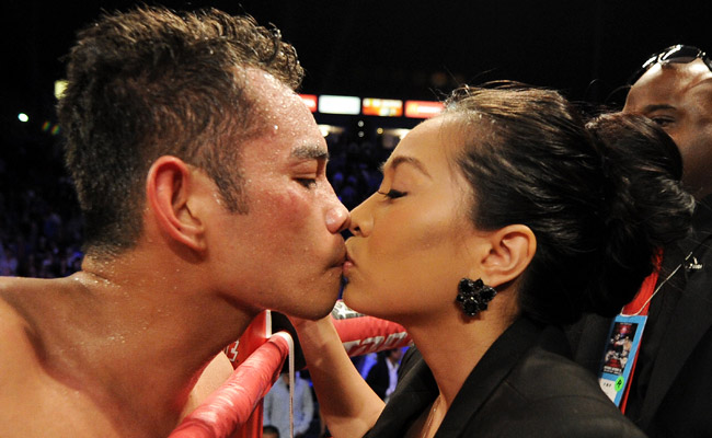 Nonito Donaire kisses his wife after his ninth round TKO of Toshioka Nishioka in October.