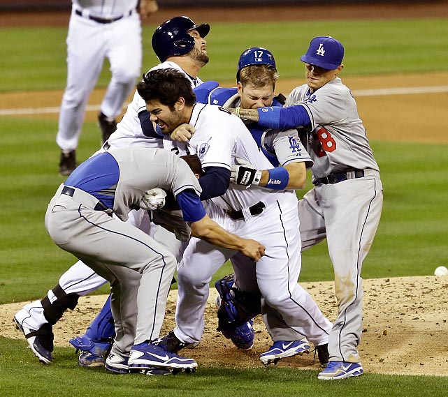 Carlos Quentin of the Padres took exception to being plunked by a pitch from Zack Greinke of the Dodgers and festivities ensued in San Diego. Greinke broke his collarbone in the melee and will be hors de combat for eight weeks.