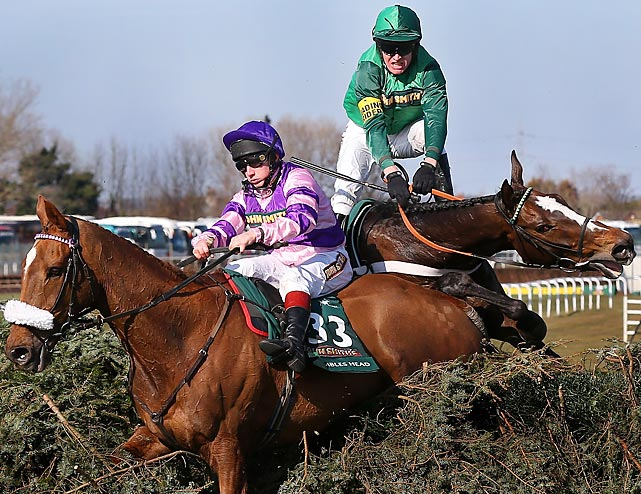 If you betted the hedge on Mumbles Head ridden by Jamie Moore (left) or Roberto Goldback ridden by Barry Geraghty -- or is it Barry Geraghty ridden by Roberto Goldback? -- in the big ract at Aintree Racecourse in Liverpool, England, you won.