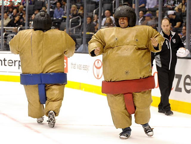 With concussions and other hideous injuries seemingly on the rise, the NHL might take a cue from this event at an L.A. Kings game and outfit players in more portective padding.