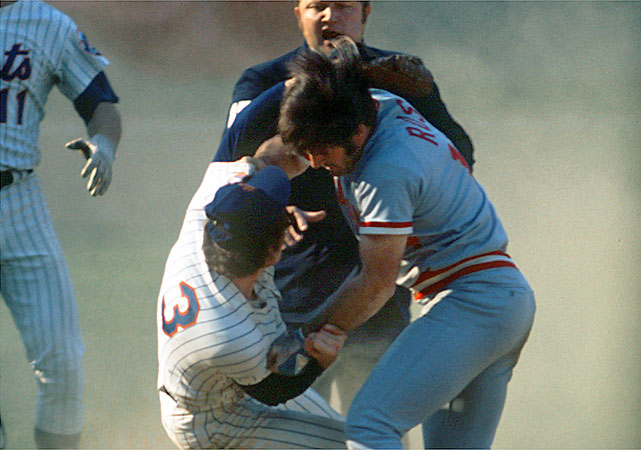 The Mets were routing the Reds 9-2 in Game 3 of the NLCS when Pete Rose slid hard into Mets shortstop Bud Harrelson at second base to try to break up a double play. Rose was upset about comments Harrelson had made in the press and shoved Harrelson, who swung his elbow. Fists started flying as both benches emptied. Pedro Borbon of the Reds and Buzz Capra of the Mets also went mano a mano, with Borbon ending up with the wrong cap -- a Mets cap -- on his head. When he realized what he had done, he bit a chunk out of it. On the 40th anniversary of the infamous Rose-Harrelson fight, we take a look at other notorious basebrawls through the years, starting with the most recent.