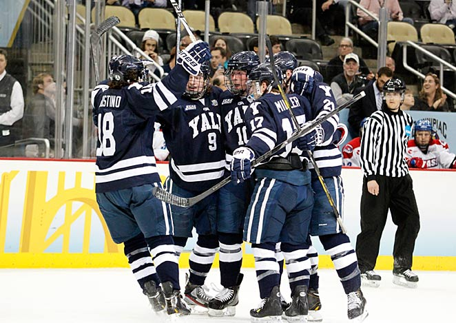 Though it's the much older of the two programs, Yale is the scrappy underdog in the NCAA hockey final.