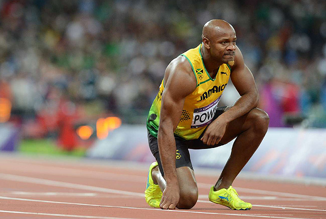 Asafa Powell pulled up in the final of the 100 meters at the London Olympics with a groin injury.