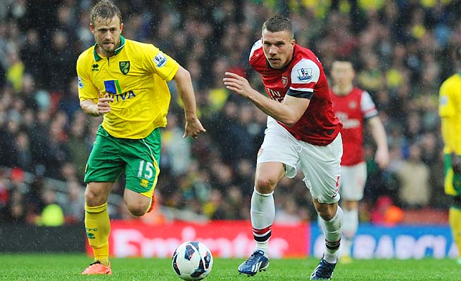 Arsenal's Lukas Podolski (right) breaks past David Fox of Norwich.