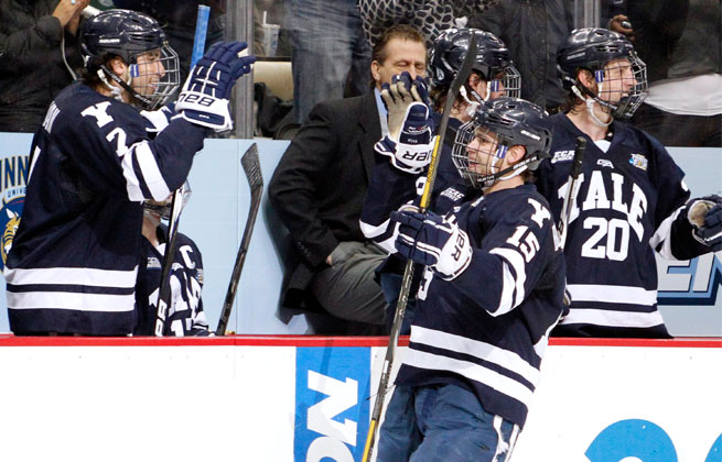 Yale shutout Quinnipiac in the NCAA championship game 4-0 Saturday, including a second period goal from Clinton Bourbonais (15).