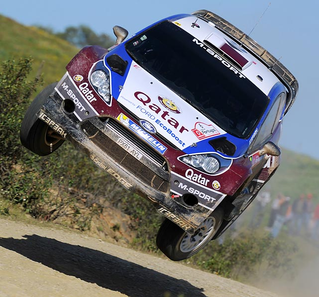 Nasser Al Attiyah of Qatar and Giovanni Bernacchini of Italy compete in their Qatar WRT Ford Fiesta RS WRC during Day Three of the WRC Portugal on April 14, 2013 in Faro , Portugal.