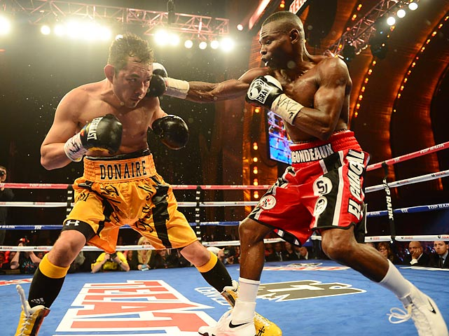 Guillermo Rigondeaux gets a clean shot on Nonito Donaire during their fight at Radio City Music Hall. Rignodeaux won by unanimous decision.