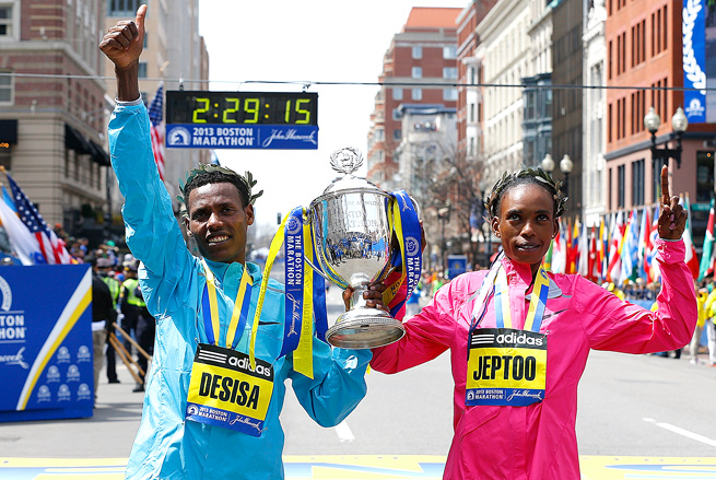Ethiopia's Lelisa Desisa and Kenya's Rita Jeptoo took first at the 117th Boston Marathon.