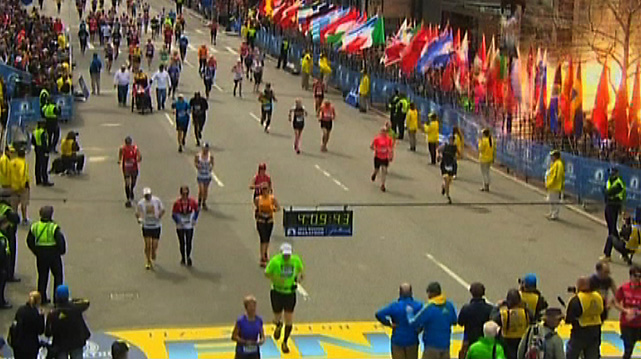 Two bombs exploded near the finish line of the Boston Marathon on Monday afternoon, killing at least two people and injuring many more. Here are the scenes from Boston.