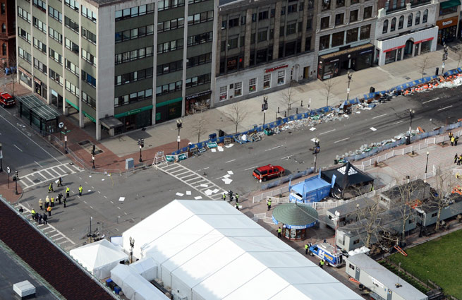 Police cleared out Copley Square following two bomb blasts near the Boston Marathon finish line.