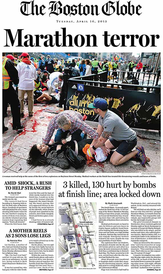 Here's how the Boston Marathon tragedy is being reported around the world in Tuesday's newspapers.