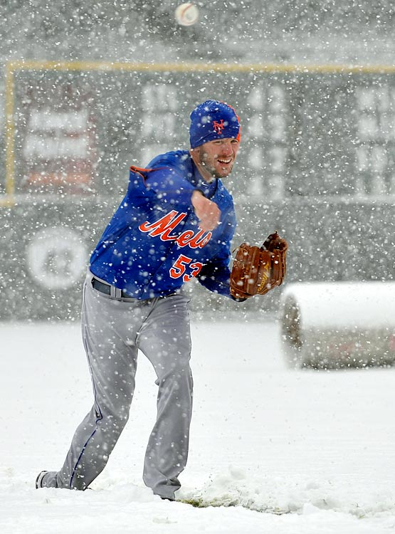 Mets pitcher Jeremy Hefner throws in the snow before a scheduled game against the Colorado Rockies at Coors Field in Denver on April 15. The game was canceled.