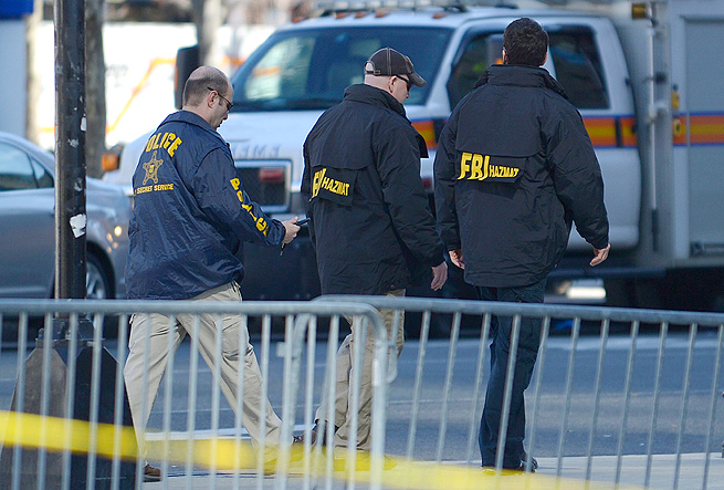 U.S. Secret Service and FBI agents are on scene near the finish line of the Boston Marathon.