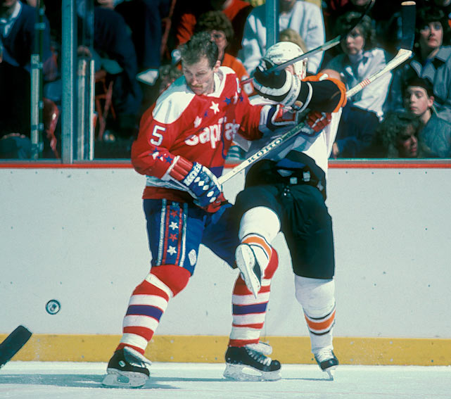 The anti-Paul Coffey, Langway made the Hall of Fame purely on his defensive skills, which were considerable. The two-time Norris winner was never especially fast, but always seemed to cover more ice than his skates seemed to allow, because of his tenacious play along the boards and relentless pursuit of pucks and opposing forwards. Langway played the game with an attitude and was effective at keeping his crease clear when there were fewer rules to govern that thankless task. He won the Stanley Cup in 1979 with Montreal, then became a force in Washington, where his teams only advanced past the second round once, a shortcoming that keeps him from a higher ranking here. -- <italics>Brian Cazeneuve</italics>