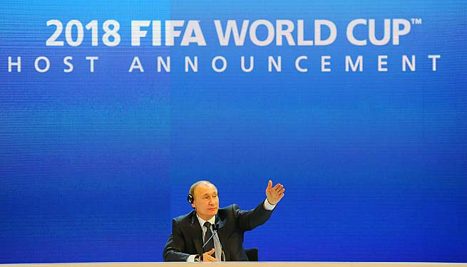Russia Prime Minister Vladimir Putin faces the press after the 2010 announcement that Russia will host the 2018 World Cup.