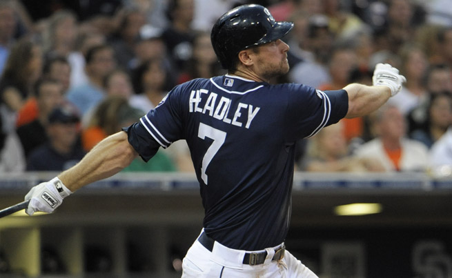 Chase Headley missed the first two weeks of the season with a broken left thumb suffered in March.