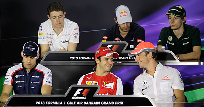 F1 drivers including Felipe Massa (center) and Jeremy Button (right) met the media in Bahrain April 18.