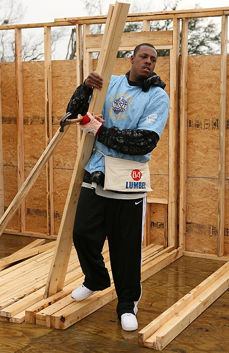 Celtics forward Paul Pierce takes part in NBA Cares during All-Star Weekend in New Orleans by helping to build a house.