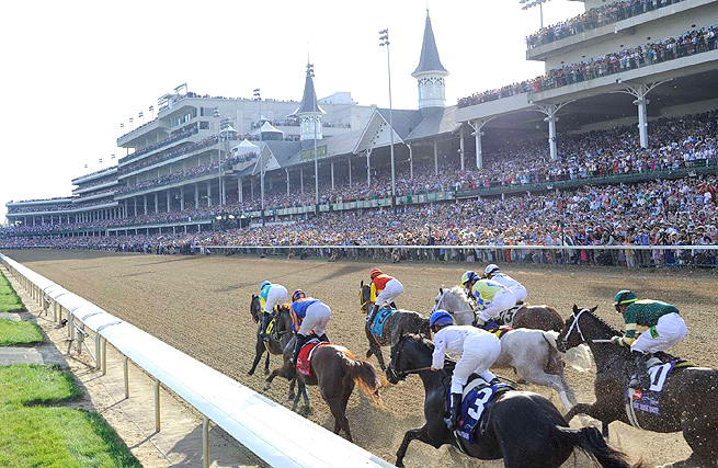 Horses race down the stretch at the 2012 Kentucky Derby held at Churchill Downs.