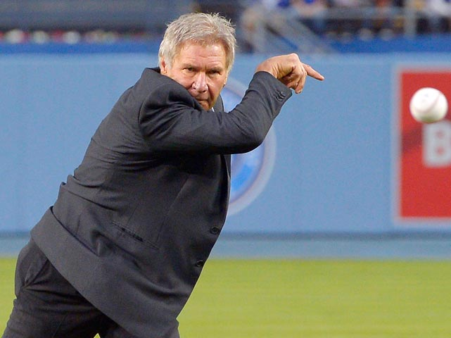 The beloved actor uncorked the first pitch before the Dodgers took on the Padres in Los Angeles and was promptly rushed and tackled by San Diego outfielder Carlos Quentin as both benches cleared. In an unfortunate comment, Padres CEO Tom Garfinkel likened Ford to Rain Man, obviously confusing him with Dustin Hoffman.