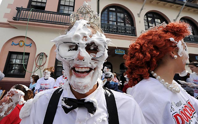 Unfazed by the display of military might in Tehran, burghers in Ocean City, NJ countered with a mass pie-in-the-face demonstration in honor of the late, great comedian Soupy Sales during the Doo Dah Parade and Tri-State Basset Hound Rescue BoardWaddle.