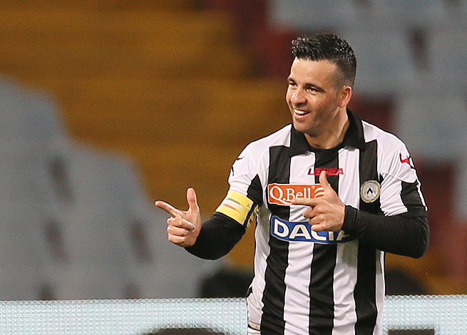 Udinese's Antonio Di Natale was all smiles after converting a bicycle kick against Lazio.