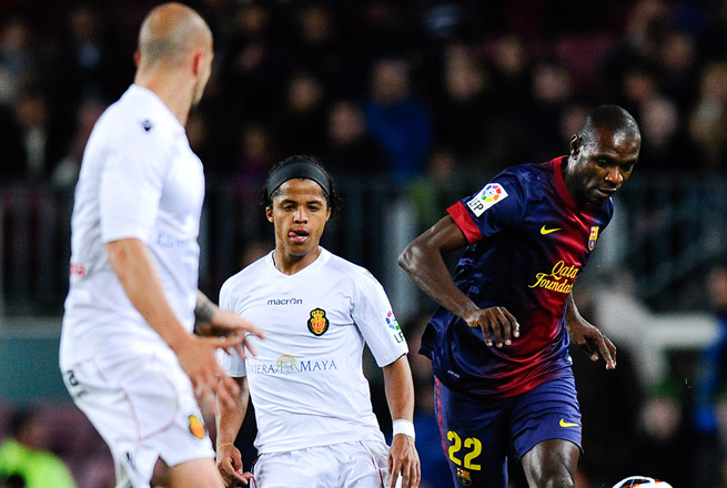 Eric Abidal (right) made his first start for Barcelona since February 2012 on Saturday.