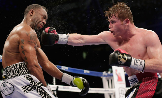 Saul Alvarez (right) battered Austin Trout for 12 rounds in a unanimous decision in San Antonio.