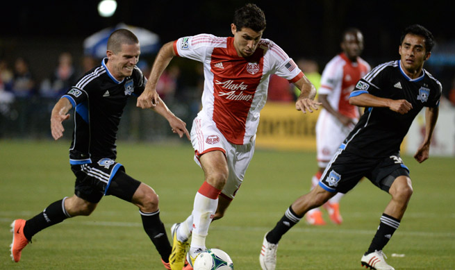 Portland's Diego Valeri (center) scored the Timbers' lone goal in their 1-1 draw with San Jose.