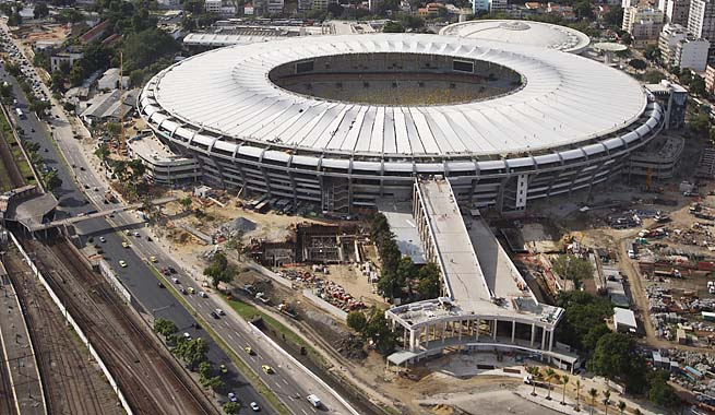 Aerial view shows the new rooftop of the Maracana Stadium, which is undergoing renovations.