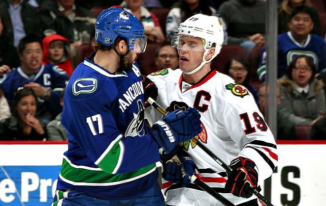 Can Ryan Kesler stay healthy for the playoffs? Will the Presidents' Trophy curse Jon Toews' Hawks?
