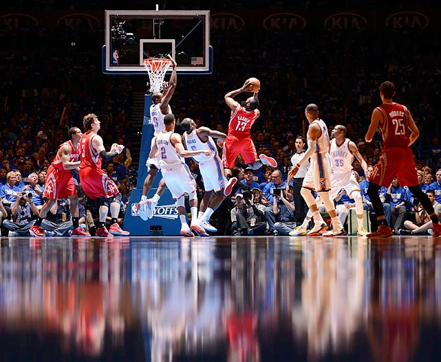 James Harden might have felt like it was him against the Thunder Sunday night, as he was the only starter to score more than nine points in Game 1 of Houston's series against Oklahoma City.