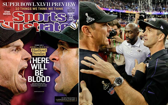 "Super Bowl XLVII, or the ""Har-Bowl"", pitted 49ers head coach Jim and Ravens head coach John against each other in New Orleans. The Ravens survived a frenzied comeback by the 49ers for a thrilling 34-31 win at the Superdome. The brothers said for two weeks that this wasn't about them, it was about their teams. They meant it. But John admitted Sunday night: ""I thought of it every day. Almost every second."""