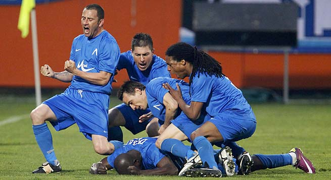 Levski Sofia players celebrate a goal against Litex Lovech during a match earlier this month.
