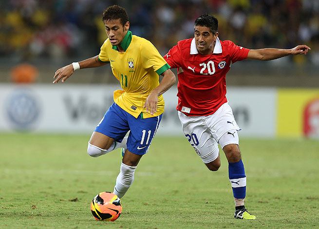 Neymar (left) slotted home in the 54th minute to give Brazil a short-lived lead against Chile.