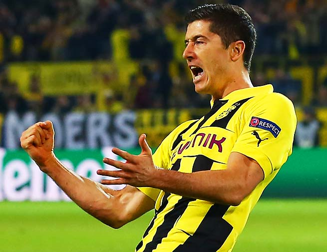 Robert Lewandowski scored four goals in Dortmund's 4-1 win over Real Madrid on Wednesday.