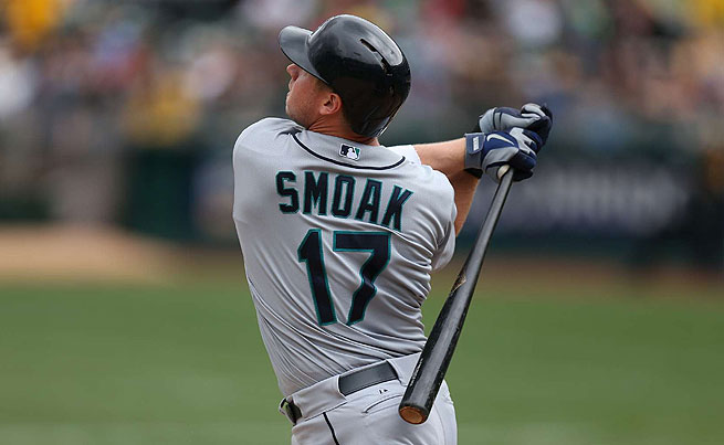 Justin Smoak has a career average of .223 and only one home run this season for Seattle.
