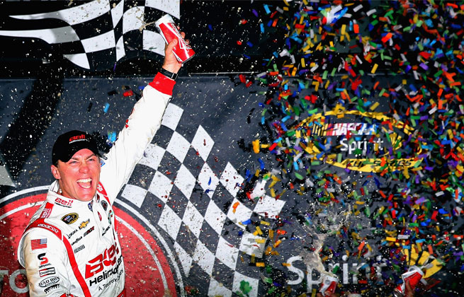 Kevin Harvick was seventh for the restart, but he rocketed through the field to snatch away the win.