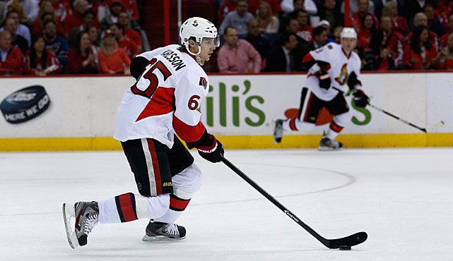 On Feb. 14, the 2012 Norris Trophy-winner was off to a flying start (10 points in 14 games) when his left Achilles tendon was sliced 70 percent by a skate blade attached to Pittsburgh's notorious Matt Cooke. After surgery, Karlsson wasn't expected back until training camp, but he miraculously returned on April 25, just in time to bolster Ottawa's sagging playoff push. The swift, puck-moving blueliner immediately juiced an offense that had plunged from fourth to 27th in goals per game, posting two assists in 27 minutes of ice time. He logged the same amount two nights later and has pronounced himself pain-free and ready to go. His presence makes the Senators a formidable dark horse.
