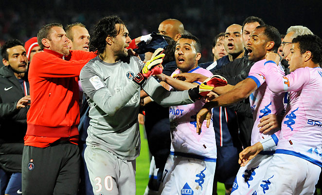 PSG and Evian players clashed after the final whistle due to taunting celebrations from PSG players.