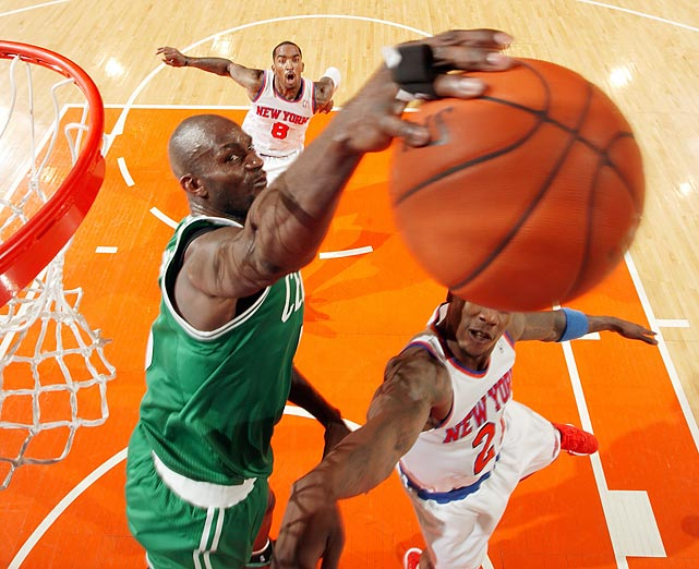 Kevin Garnett gets a hand on Iman Shumpert's shot in the Knicks' 87-71 Game 2 victory over the Celtics in the Eastern Conference quarterfinals on April 23.
